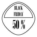 Black Friday sticker 50 percent off icon. Outline illustration of  for web vector illustration