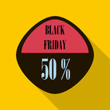 Black Friday sticker 50 percent off icon. Flat illustration of Black Friday sticker 50 percent off vector icon for web isolated on yellow background Royalty Free Stock Photos