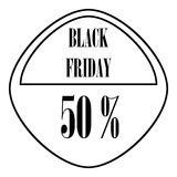 Black Friday sticker 50 percent off icon. Outline illustration of Black Friday sticker 50 percent off vector icon for web stock illustration