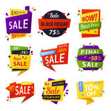 Black friday stickers or tags, labels for selling Stock Photography