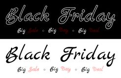 Black Friday - stor försäljning, stor dag, stor överenskommelse Beskrivning på den svarta eller vita bakgrunden royaltyfri illustrationer
