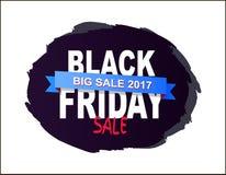 Black Friday stora Sale 2017 som är skriftlig på borstefärgstänk stock illustrationer