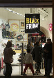 Black friday store with sign during thanksgiving Stock Photo