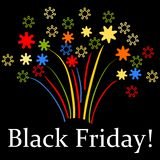 Black Friday stylized fireworks Stock Photography