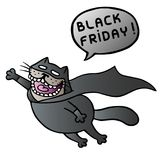 Black friday. Super cat flies and shout. Vector Illustration. Speech bubble. Stock Photography