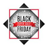 Black friday super sale advertising banner with light bokeh and ribbon. On rhombus and square frame. Promotion flyer. Eps 10 vector vector illustration