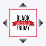 Black friday super sale advertising banner with ribbon on rhombus and red square frame. Black friday super sale advertising banner with ribbon on rhombus and vector illustration