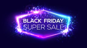Black friday super sale banner on neon background. Shopping sign with flares and sparkles. Night club electric techno frame with explosion, firework and light stock illustration