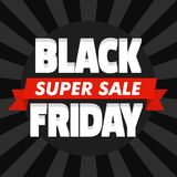 Black friday super sale concept background, flat style royalty free illustration