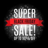 Black Friday super sale inscription design template. Up to 90 percent off. Promotional banner with black white bokeh. Eps 10 vector vector illustration