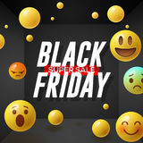 Black Friday super Sale poster with emoticons smiling faces, black background Royalty Free Stock Image
