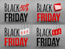 Black friday super sale. Raster illustration. Three-dimensional graphics. Sales, huge discounts. 3d illustration. Stock Image
