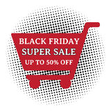 Black friday super sale. Up to 50% off, wording on shopping cart with halftone. EPS10 Vector Illustration Vector Illustration