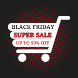Black friday super sale. Up to 50% off, wording on shopping cart with halftone. EPS10 Vector Illustration Royalty Free Illustration