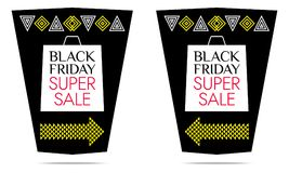 Black Friday Super Sale. Vector Banner. With black, white, yellow and red color. Colorful Promo Sticker, Flyer, Poster, Label Stock Photography
