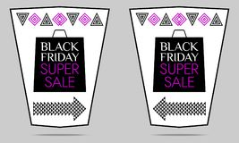 Black Friday Super Sale. Vector Flyer. With black, white and purple color. Colorful Promo Banner, Sticker, Poster, Label Stock Photos
