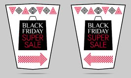 Black Friday Super Sale. Vector Poster. With black, white and red color. Colorful Promo Banner, Sticker, Flyer, Label Royalty Free Stock Photos