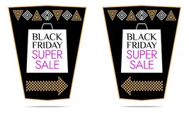 Black Friday Super Sale. Vector Sticker. With black, white, gold and purple color. Colorful Promo Banner, Flyer, Poster, Label Royalty Free Stock Photos