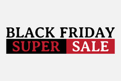 Black friday super sale, wording on white background Stock Photos