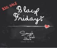 Black Friday sur le tableau noir Photos stock