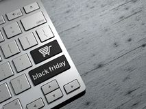 Black friday, technology sales, online shopping, shopping offers. Computer keyboard buttons. 3d rendering Stock Photos