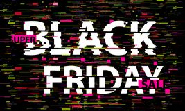 Black Friday tekniskt feltext Effekt för Anaglyph 3D Teknologisk retro bakgrund On-line shoppingbegrepp Sale e-kommers som sälja  stock illustrationer