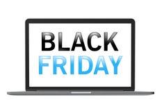 Black Friday tekst na laptopu ekranie Fotografia Royalty Free