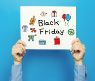 Black Friday-tekst op een witte affiche Stock Fotografie