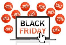 Black Friday-Text auf Laptopschirm mit Pixel-Cursor Stockfoto
