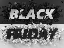 Black friday text and exploding background. 3d illustration. Royalty Free Stock Image