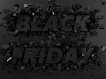 Black friday text and exploding background. 3d illustration. Stock Photos