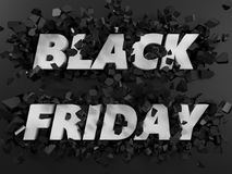 Black friday text and exploding background. 3d illustration. Royalty Free Stock Photos