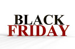Black Friday-Text, Illustration 3D Lizenzfreie Stockfotos