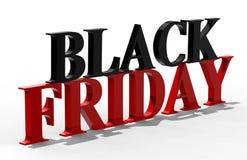 Black Friday-Text, Illustration 3D Lizenzfreies Stockfoto