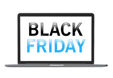 Black Friday text on laptop screen Royalty Free Stock Photography