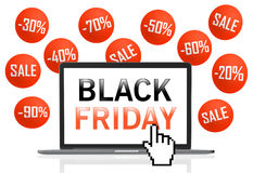 Black Friday text on laptop screen with pixel cursor Stock Photo