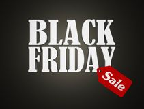 Black friday text with red sale tag. 3D render illustration stock illustration