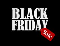 Black friday text with red sale tag isolated on black background. 3D render illustration vector illustration