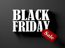 Black friday text with red sale tag isolated on black background. 3D render illustration stock illustration