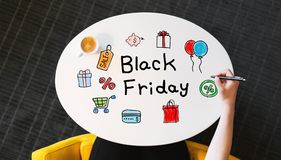 Black Friday text on a white table Royalty Free Stock Photos