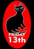 Black Friday 13th affisch med den godmodiga nöjda feta svarta katten Vektor EPS 10 Royaltyfri Bild