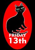 Black Friday 13th poster with good-natured pleased fat black cat. Vector EPS 10. Antistress cartoon Royalty Free Stock Image