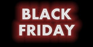Black Friday sign in white glossy. Black Friday after Thanksgiving​ sign in red and white strips Stock Photos