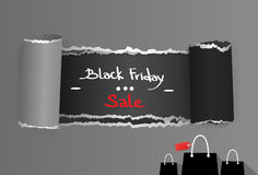 Black Friday Torn Curved Wrapped Paper Sale Red Stock Photos