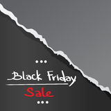 Black Friday Torn Curved Wrapped Paper Sale Red Stock Images