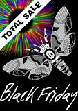 Black Friday Total Sale with deaths head hawkmoth drawing and psychedelic rainbow rays on black background. Vector leaflet template vector illustration