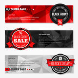 Black Friday Total Sale Horizontal Banners Set. Stock Photo