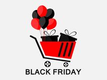 Black friday. Trolley with gifts and balloons. Black and red color. Vector. Illustration Royalty Free Stock Image