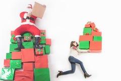 Black Friday, United States, mother, Santa. Many gift boxes Royalty Free Stock Photos