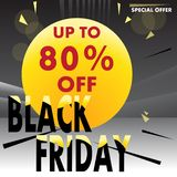 Black Friday up to 80 off vector template. Black Friday . Up to 80% off. Vector creative template for shops, web stock illustration